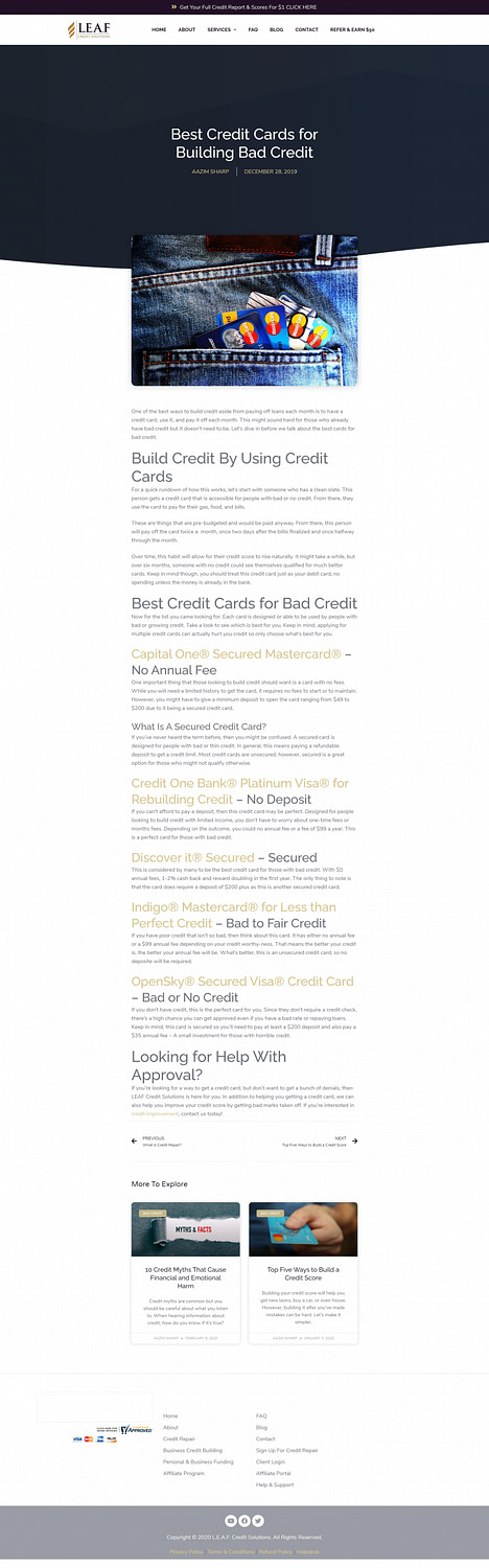 LEAF Credit Solutions - Blog - Best Credit Cards for Building Bad Credit-min