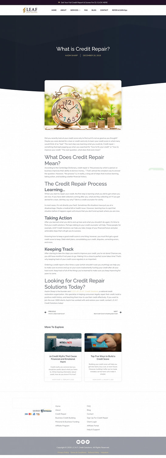 LEAF Credit Solutions - Blog - What is Credit Repair-min