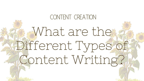 What are the Different Types of Content Writing?